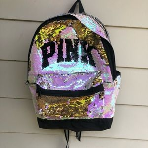 Pink sequin backpack